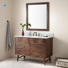 48 '' precio de fábrica al por mayor de muebles de madera natural baño único lavabo montaje vanidad del baño