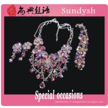 Coloré imitation à la mode grande mode pure fine concession artificielle en gros américain diamant bijoux prix fournisseur