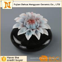 Hot Sale Black garrafa de perfume de cerâmica com flor Cap