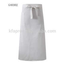 plain long waist half white apron