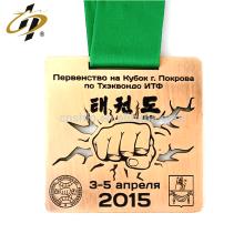 Fournir la médaille de fiesta en métal de la fédération de taekwondo personnalisée de bronze avec lanière