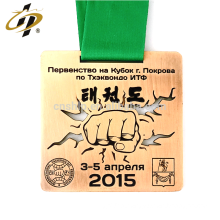Supply normal bronze custom taekwondo federation fiesta metal medal with lanyard