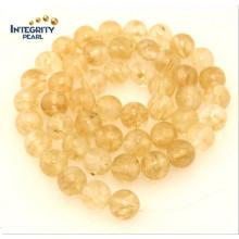 Synthetischer Quarz Stein Größe 6 8 10 12mm Gelb Nachgemachte Kristall Perlen