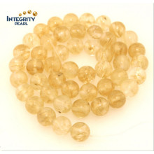 Piedra de cuarzo sintética Tamaño 6 8 10 12mm Perla de cristal de imitación amarillo