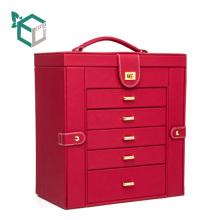 La joyería delicada de lujo del cajón de la cartulina del cuero de gama alta recoge la caja de regalo del escaparate del envase
