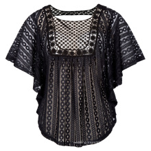 Hanna Nikole Women Plus Size Loose Semi See-Through Batwing Sleeve Lace Tops HN0020-1