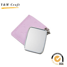 Newly Design Pink PU Mirror with Hot Press Logo