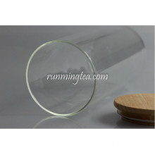 Hot sale tea glass Jar with wood Lid,canist Food-grade Plastic Seal