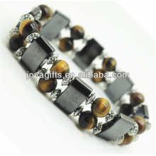 Bracelet d'espace d'hématite magnétique avec alliage et oeillet de tigre jaune 8MM