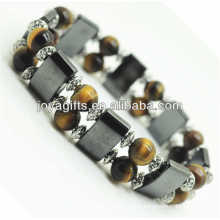 Magnetic Hematite Space Bracelet with alloy and 8MM Yellow Tiger eye Round Beads
