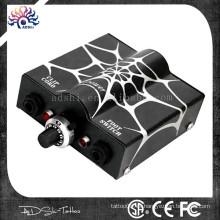 2015 Venta caliente spiderweb brillo diseño delineador o Shader uso tatuaje máquina y tatuaje pistola fuente de alimentación con dos colores