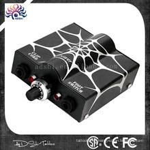 2015 Venda quente Spiderweb brilho design Liner ou Shader Use Tattoo Machine e Tattoo Gun Power Supply com duas cores