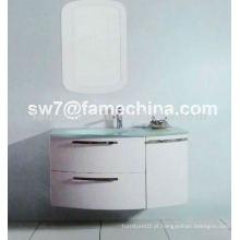 Gabinete de banheiro de PVC de design quente de alto brilho 2013 com bacia de vidro