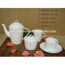 Bote de azúcar de leche con cuchara / taza y platillo de cerámica