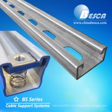 Canal de puntal en C galvanizado en acero inoxidable galvanizado y perforado
