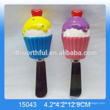 Cute helado en forma de cuchillo de mantequilla decorativa, cuchillo de mantequilla de cerámica