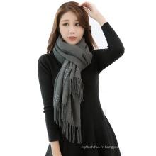 2017 hiver couleur unie plaine faux cachemire écharpe pashmina châle foulards perlés