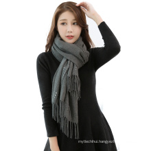 2017 winter solid color plain fake cashmere scarf pashmina shawl beaded scarves