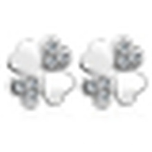 Brincos de trevo em forma de coração simples e bonito da mulher
