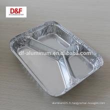 Récipient en aluminium à 3 compartiments pour aliments