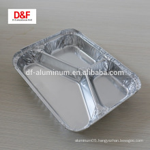Disposable 3-compartment aluminum container for food