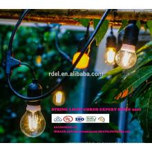 Decoración para patio Luces de 48 pies con iluminación de cadena colgante con 15 tomas sueltas, cable de extensión de 10 pies SLT-175