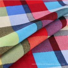 2016hot Sale Plaid Shirt Viskose Stoff für Frühjahr / Sommer Kleidungsstück