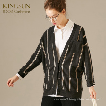 V Neck Long Sleeve Cardigan For Ladies, Pure Cashmere Cardigan, Stripe Pattern Knit Sweater