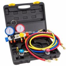 4 Way Manifold Gauge Hose Set R410 R22 R134a Refrigeration AC HVAC KIT