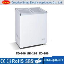 Congelador de pecho de puerta plana de cristal deslizante comercial aprobado ETL