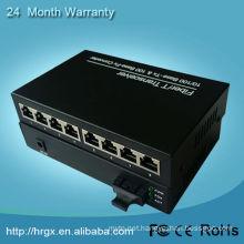 fiber media converter with 8 ports, ethernet signal over fiber transmission