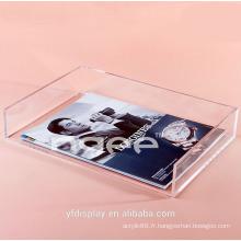 Plateau d'affichage acrylique clair livre sur mesure pour bureau et école