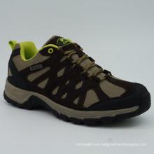 Buen estilo hombres de cuero genuino senderismo zapatos con impermeable