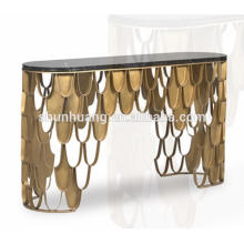 Living room metal furniture stainless steel hall console with marble top