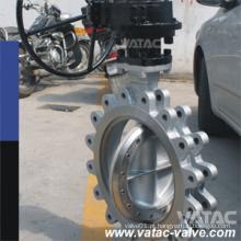 API609 Válvula Borboleta de Aço Inoxidável Funcionada em Engrenagem