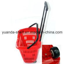 Virgin Plastic Supermarket Customer Shopping Wheel Basket