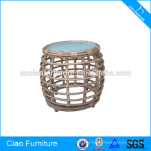 Round wicker furniture tea side table