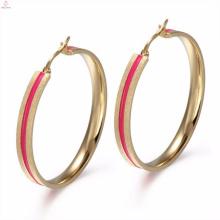 Conception traditionnelle manchette d'oreille Antique émail Rose or boucles d'oreilles bijoux