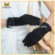 fashion women wearing bow leather sheepskin suede gloves