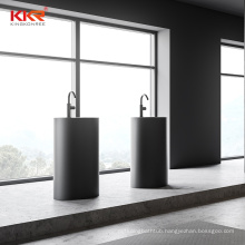 KKR black Solid Surface Stone Artificial Stone Square Free Standing Pedestal Bathroom Wash Basin  free standing basin