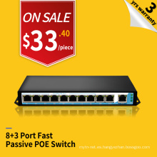 Fast ethernet 100M 250 metros 24v pasivo 8 puertos poe switch inyector