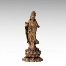 Buddha-Statue Avalokitesvara / Lotus-Guanyin-Bronze-Skulptur Tpfx-076
