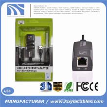 2016 Nuevo USB 3.0 10/100 / 1000Mbps Gigabit Ethernet USB A la tarjeta de red externa RJ45 Adaptador LAN para Windows XP / Vista / 7/8 MAC OS