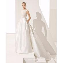 Elegantes Sicke-Spitze-Spitze mit Taschen-Satin-Brautkleid-Hochzeits-Kleid