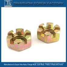 Tuerca hexagonal ranurada de acero galvanizado amarillo DIN937