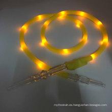 El más nuevo 1.8m amarillo LED linterna de silicona Hookah Shisha manguera (ES-HH-015-3)
