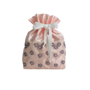 satin drawstring sachet lace bags for lingerie