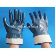 Bulk Nirtril beschichtete industrielle Handschuhe Anti-Öl-Baumwollgewebte Interlock gefüttert voll beschichtetes blaues Nitril mit Sicherheitsmanschette