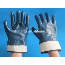 Bulk nirtril coated industrial gloves anti oil cotton woven interlock lined fully coated blue nitrile with safety cuff