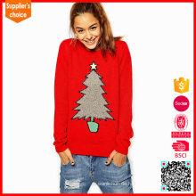 Neueste Design-Pullover Frau strickte 100% Baumwolle Weihnachtsstrickjacke
